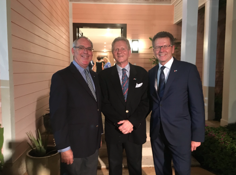 from left: Theodore Brent Symonette, Bahamian Minister of Financial Services, Trade and Industry and Immigration, Austrian Ambassador Wolfgang Waldner and Austrian Honorary Consul Wolfgang Reichenberger