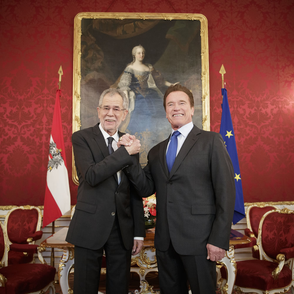 Austrian Federal President Alexander Van der Bellen, Arnold Schwarzenegger Credit:Peter Lechner/HBF