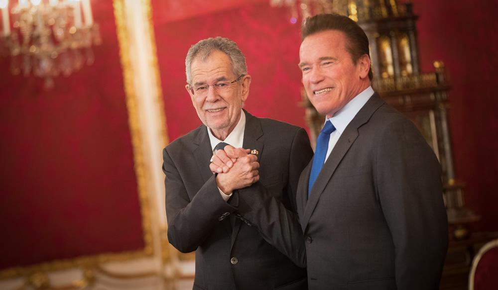 Federal President Alexander Van der Bellen, Arnold Schwarzenegger.  Credit:Peter Lechner/HBF