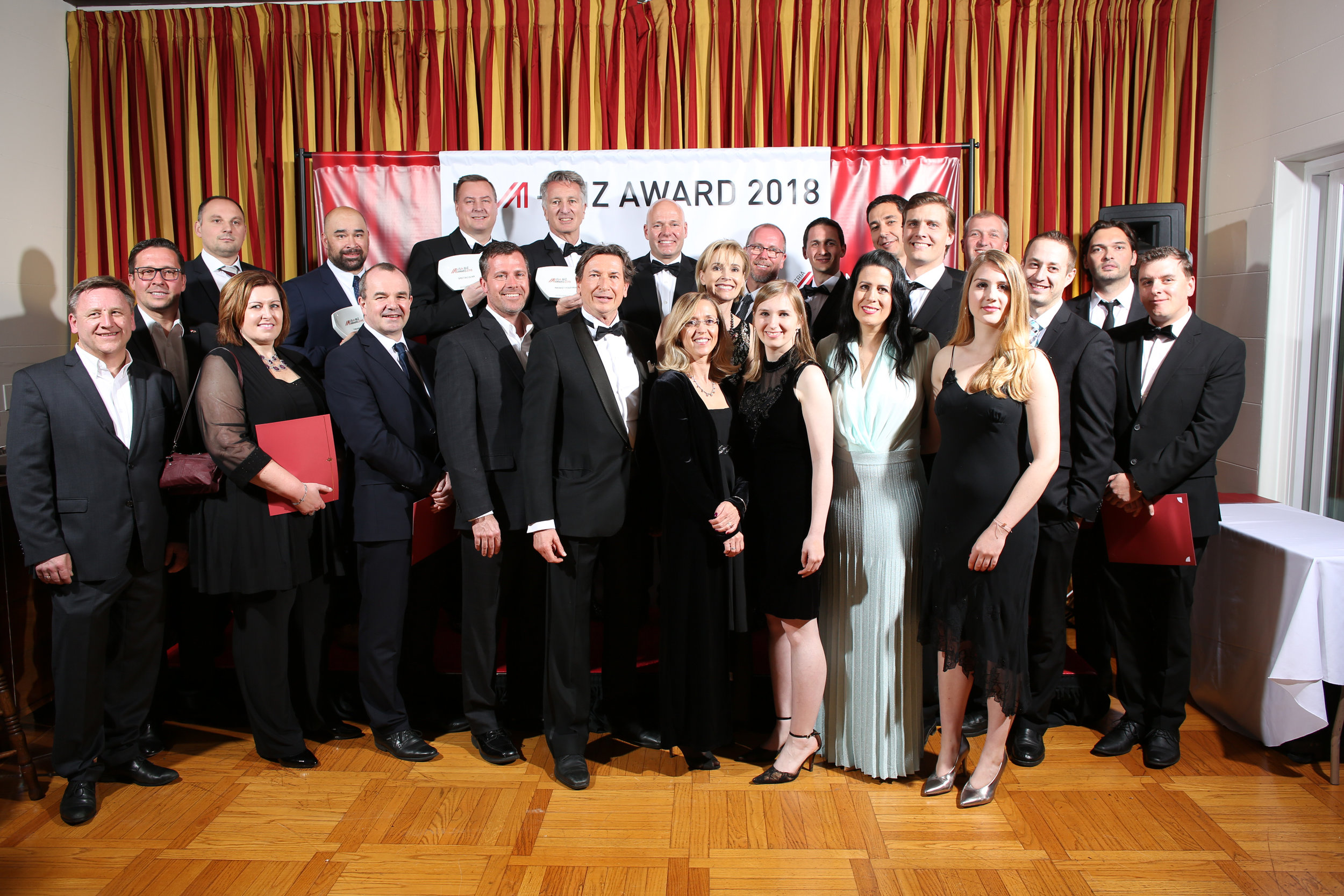 Group photo with all the winners and nominees of the 2018 USA Biz Awards on March 3, 2018, Los Angeles