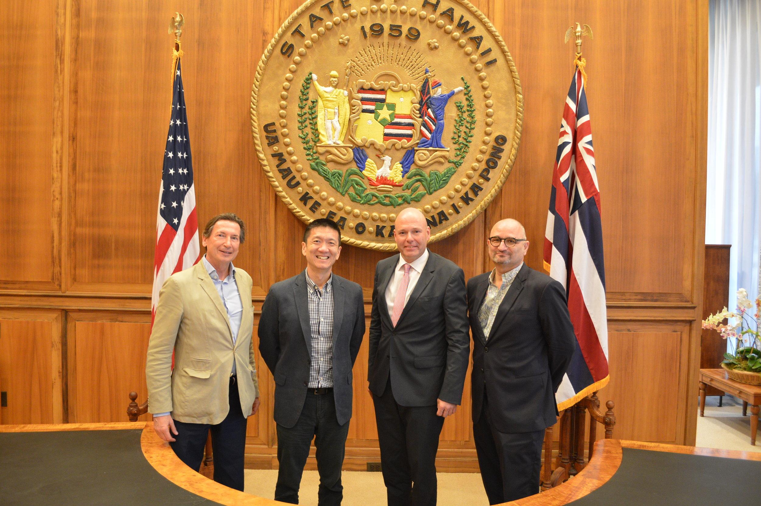From left: Trade Commissioner Koren,LtGov Chin,Consul General Launer, Honorary Consul Urschitz
