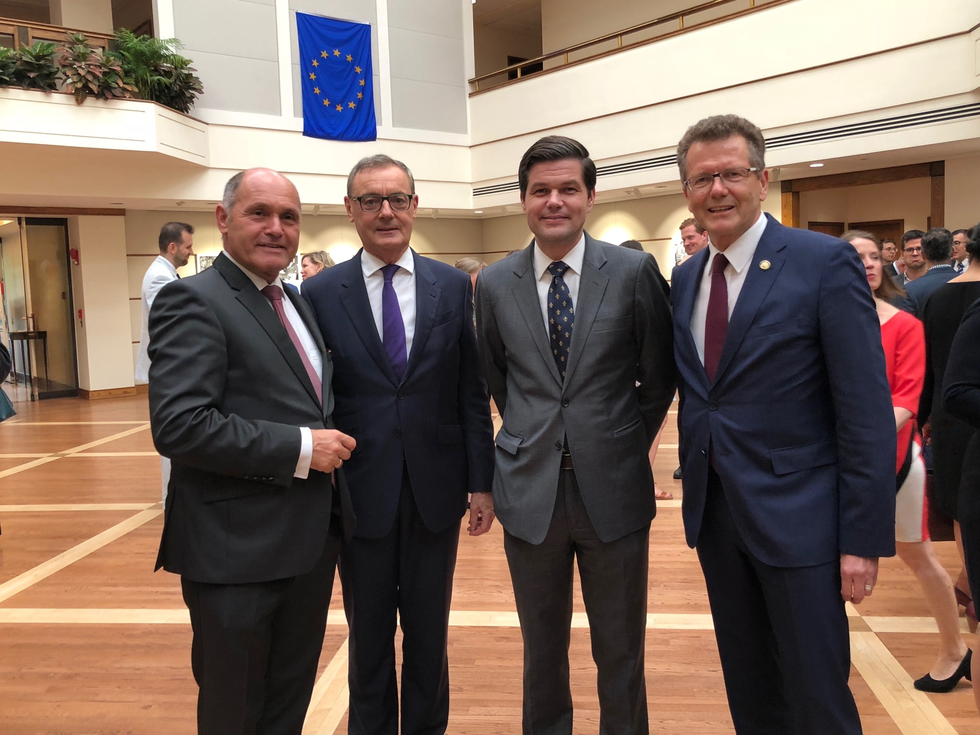 from left: Wolfgang Sobotka (First President of the Austrian National Council), Ambassador David O'Sullivan (Delegation of the European Union to the U.S.), A. Wess Mitchell (U.S. Assistant Secretary of State), Ambassador Wolfgang Waldner