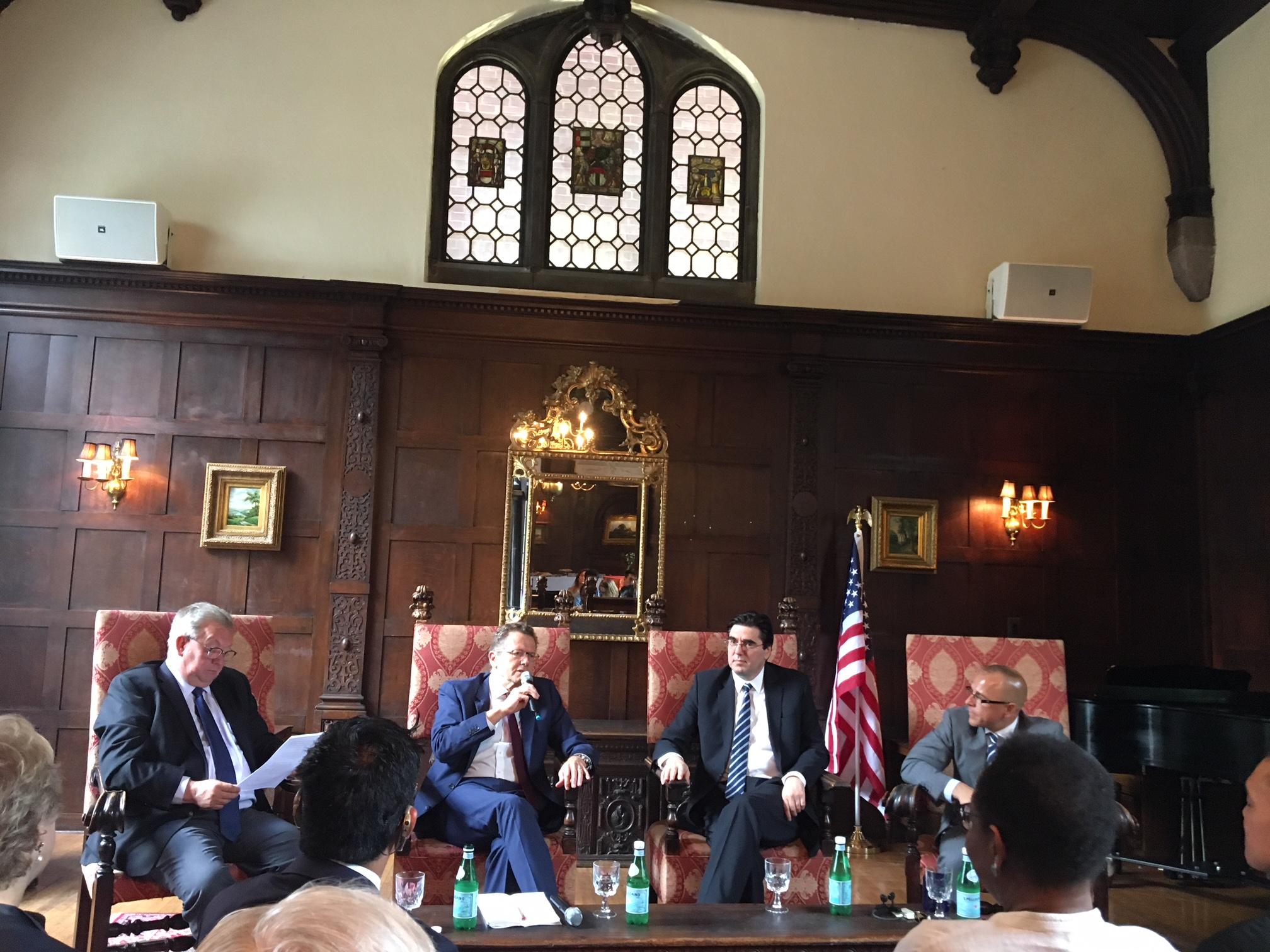 from left:Estonian Ambassador Lauri Lepik, Austrian Ambassador Wolfgang Waldner, Bulgarian Ambassador Tihomir Stoytchev and Moderator Matt Decker (Williams & Jensen law firm)