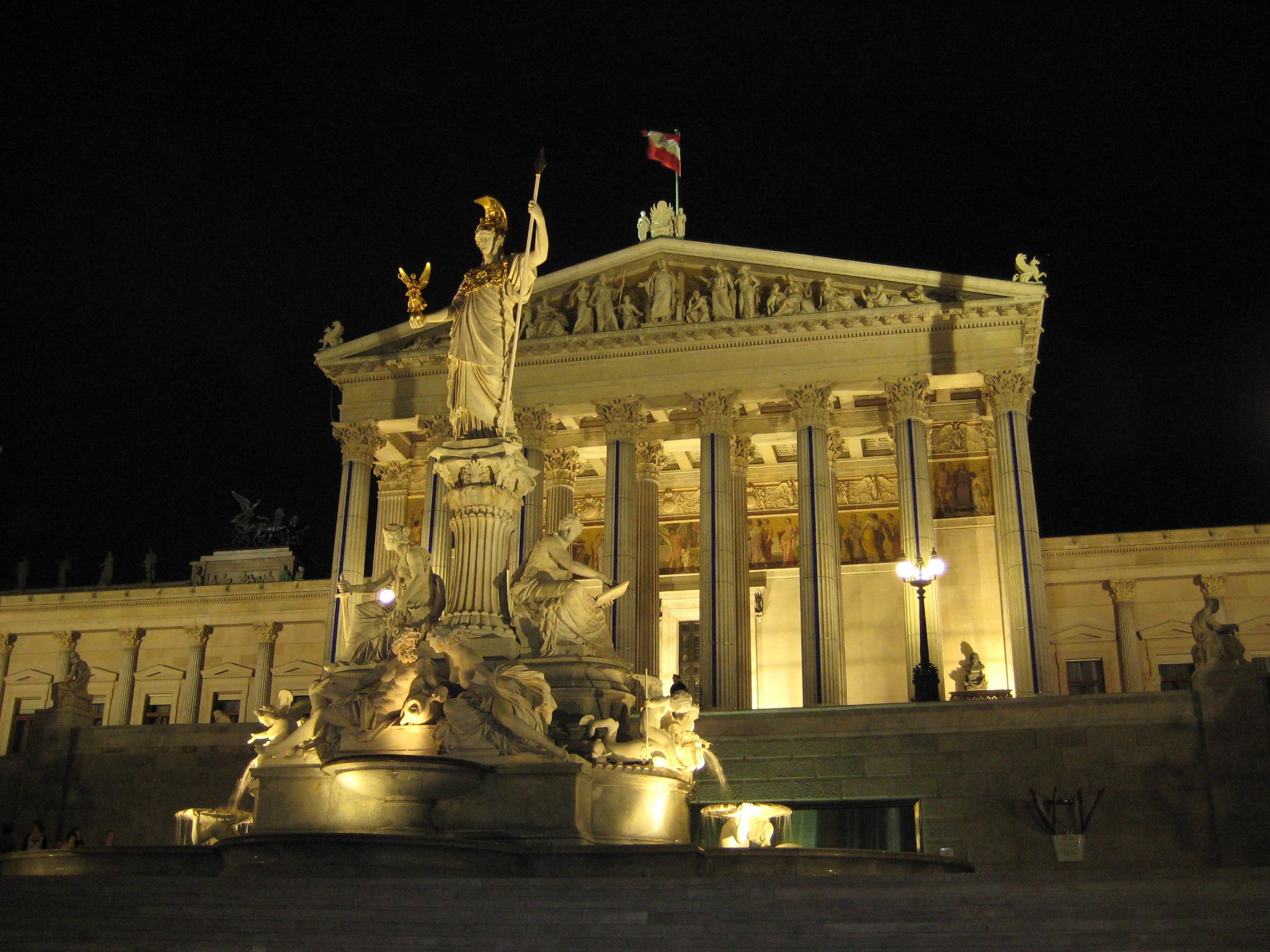 Austrian parliament building at night.  ©  Markus Bernet/ Wikimedia