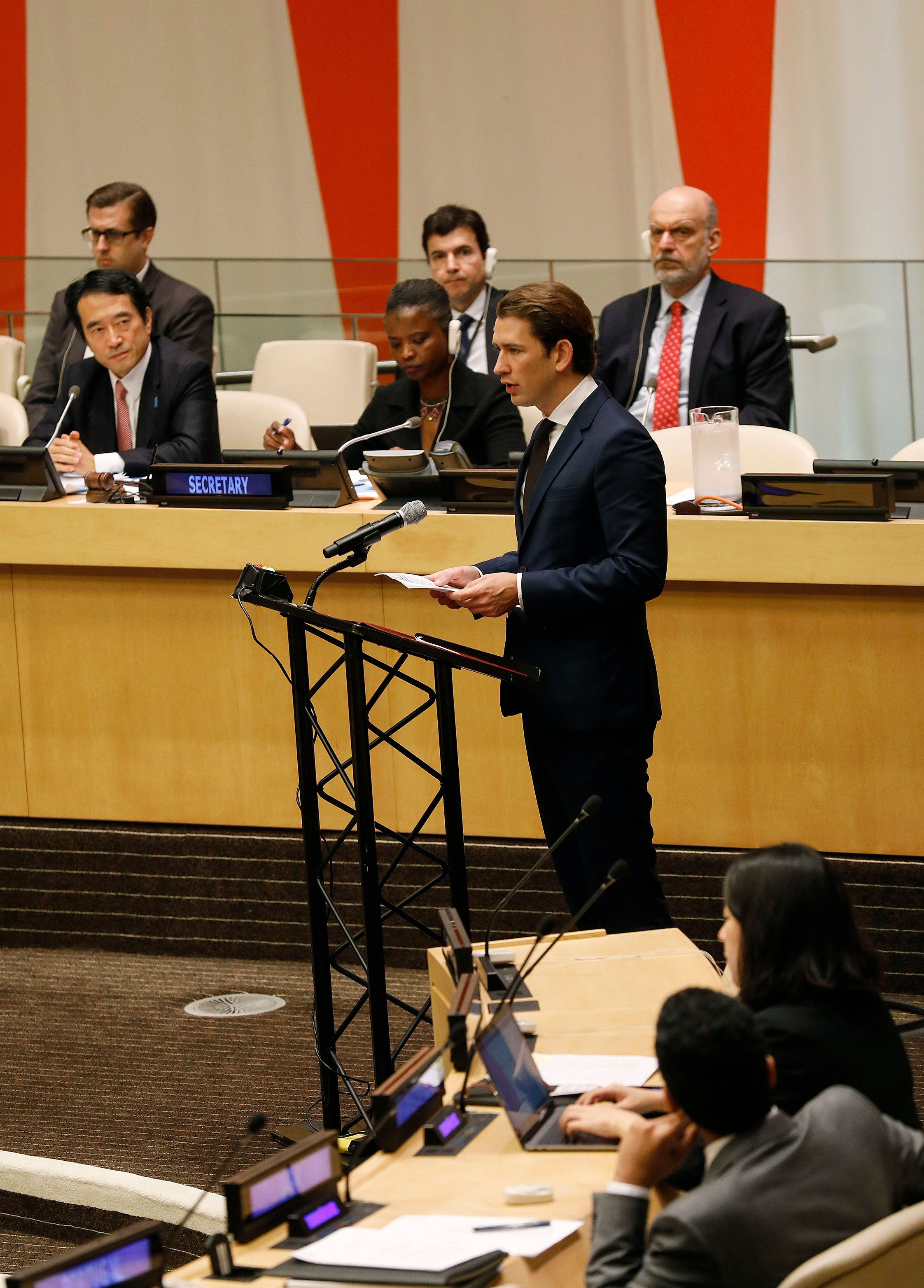 Austrian Chancellor Sebastian Kurz addresses the UN General Assembly on September 26, 2018, the International Day of the Total Elimination of Nuclear Weapons (c) BKA/Dragan Tatic