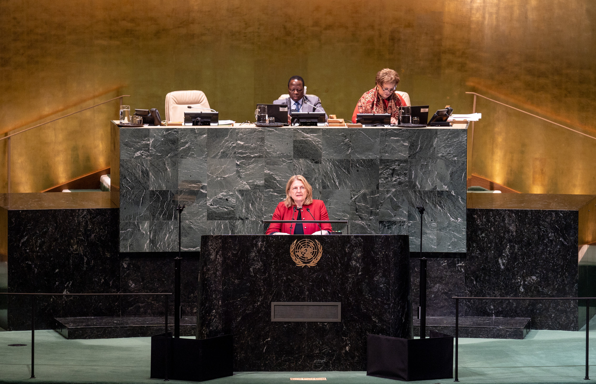Foreign Minister Karin Kneissl addressing the UN General Assembly on September 29, 2018 (c) Austrian Ministry of Foreign Affairs