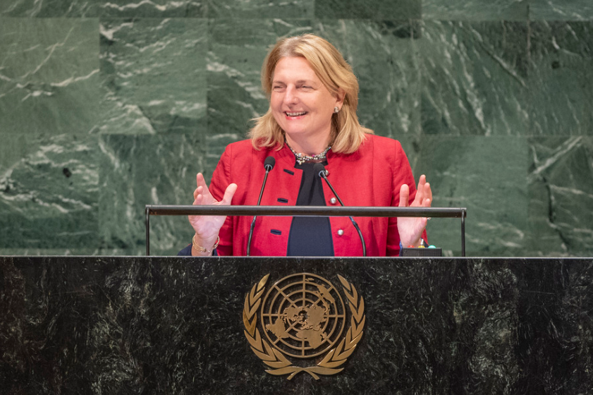 Foreign Minister Karin Kneissl speaking before the UN General Assembly on September 29, 2018 (c) UN Photo/Cia Pak