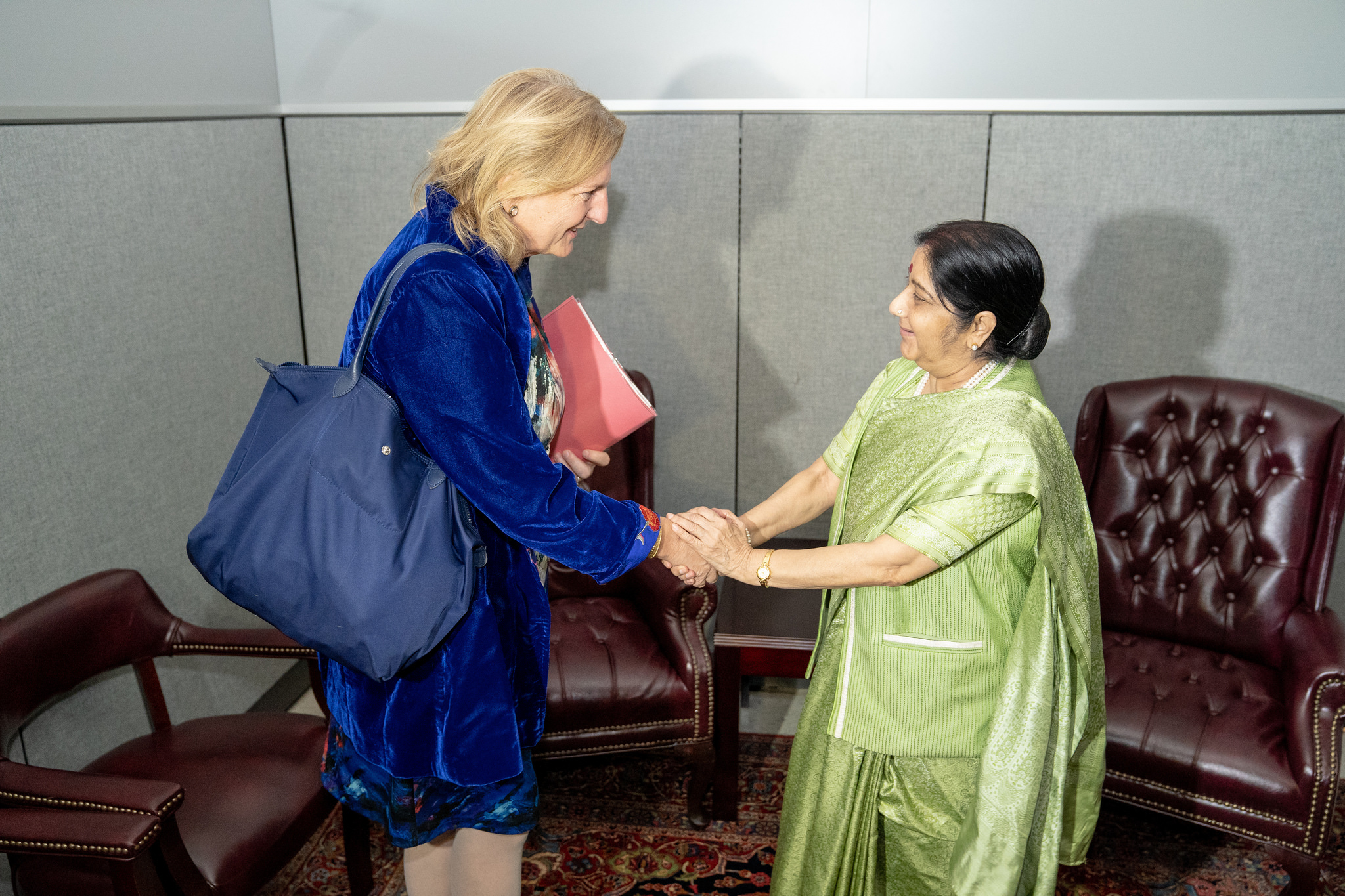 Foreign Minister Karin Kneissl in a bilateral meeting with her counterpart, Indian Foreign Minister, Sushma Swaraj (c) Austrian Ministry of Foreign Affairs