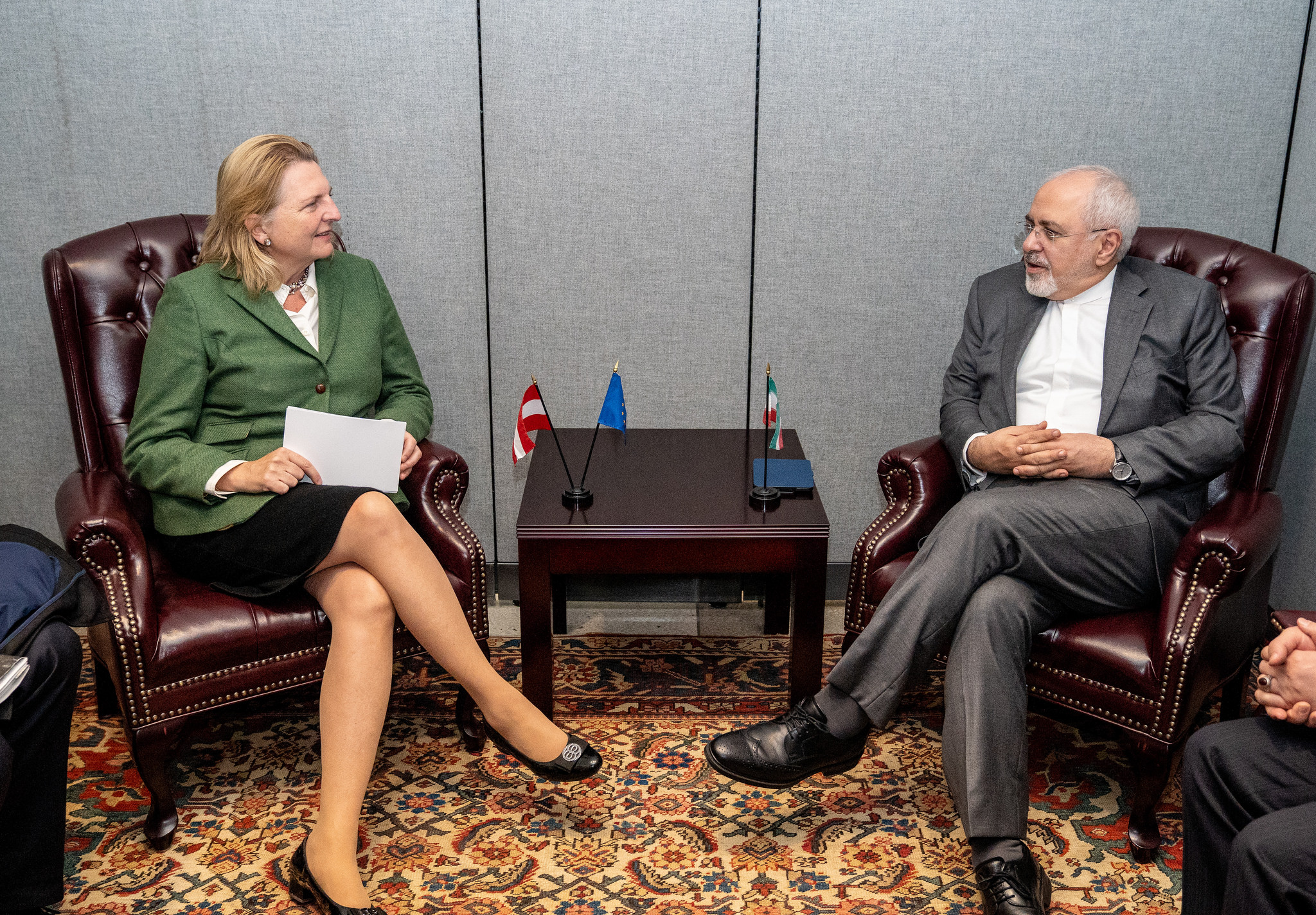Foreign Minister Karin Kneissl meeting with her counterpart from Iran, Mohammad Javad Zarif (c) Austrian Ministry of Foreign Affairs