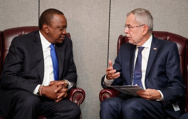 Federal President Alexander Van der Bellen holds bilateral talks with the President of Kenya, Uhuru Kenyatta. (c) Peter Lechner/HBF