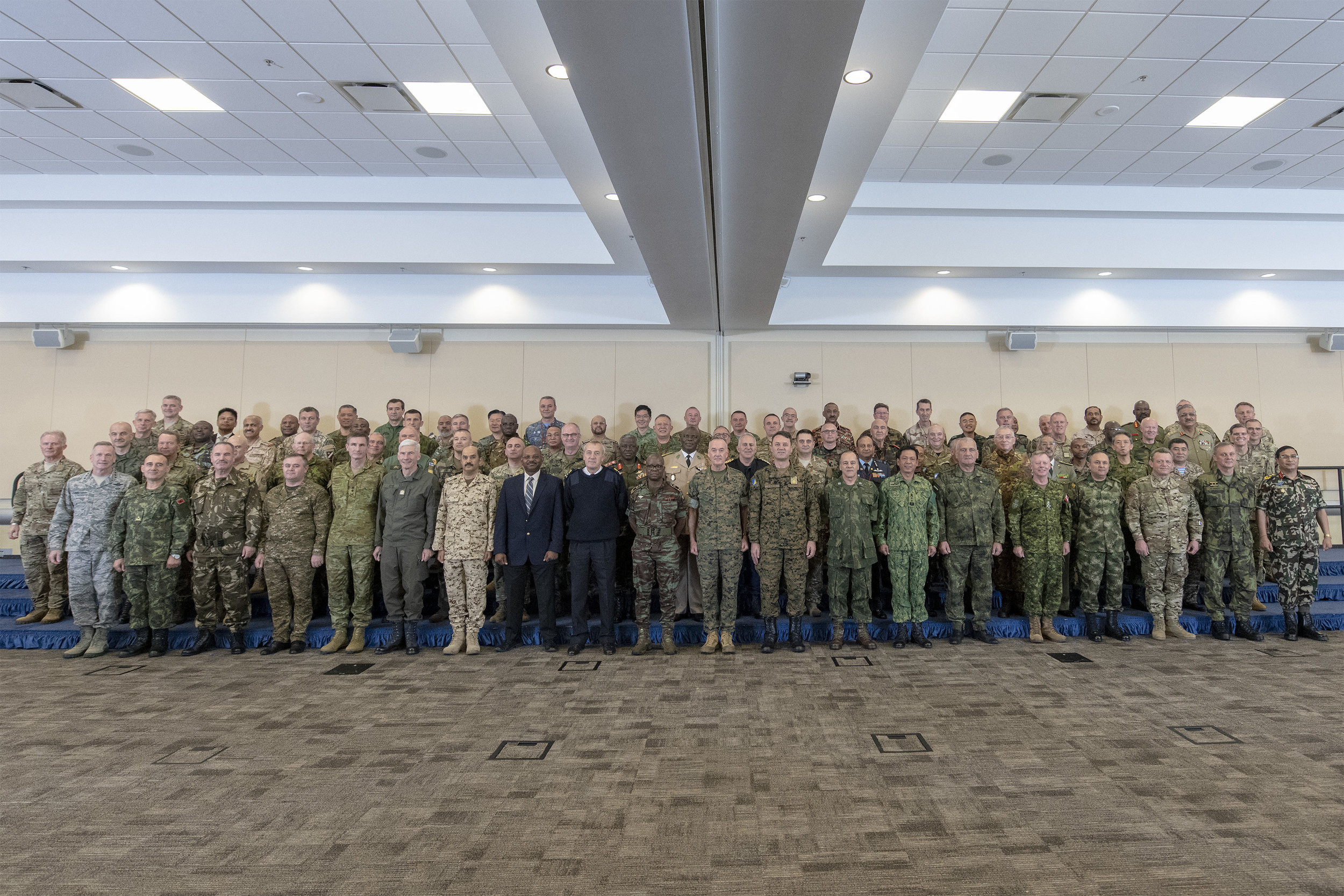 The U.S. Chairman of the Joint Chiefs of Staff Gen. Joe Dunford hosted over 80 chiefs of defense at Joint Base Andrews, Maryland, to discuss countering violent extremist organizations. Photo by U.S. Navy Petty Officer 1st Class Dominique A. Pineiro