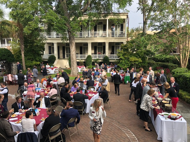 Reception at the College of Charleston's Presidents House. The college stresses the importance of preparing students for international affairs; all undergraduates are required to take a foreign language and more than 40% of students study abroad.