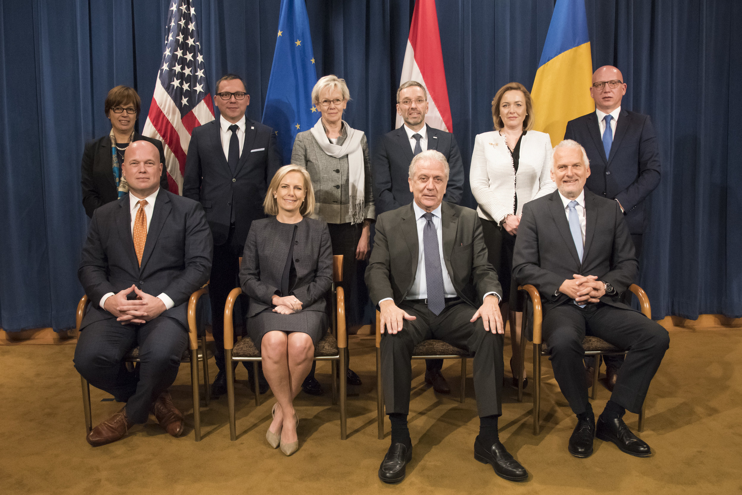 """Principals of the """"EU-U.S. Justice and Home Affairs Ministerial Meeting"""" pose for a group photo"""