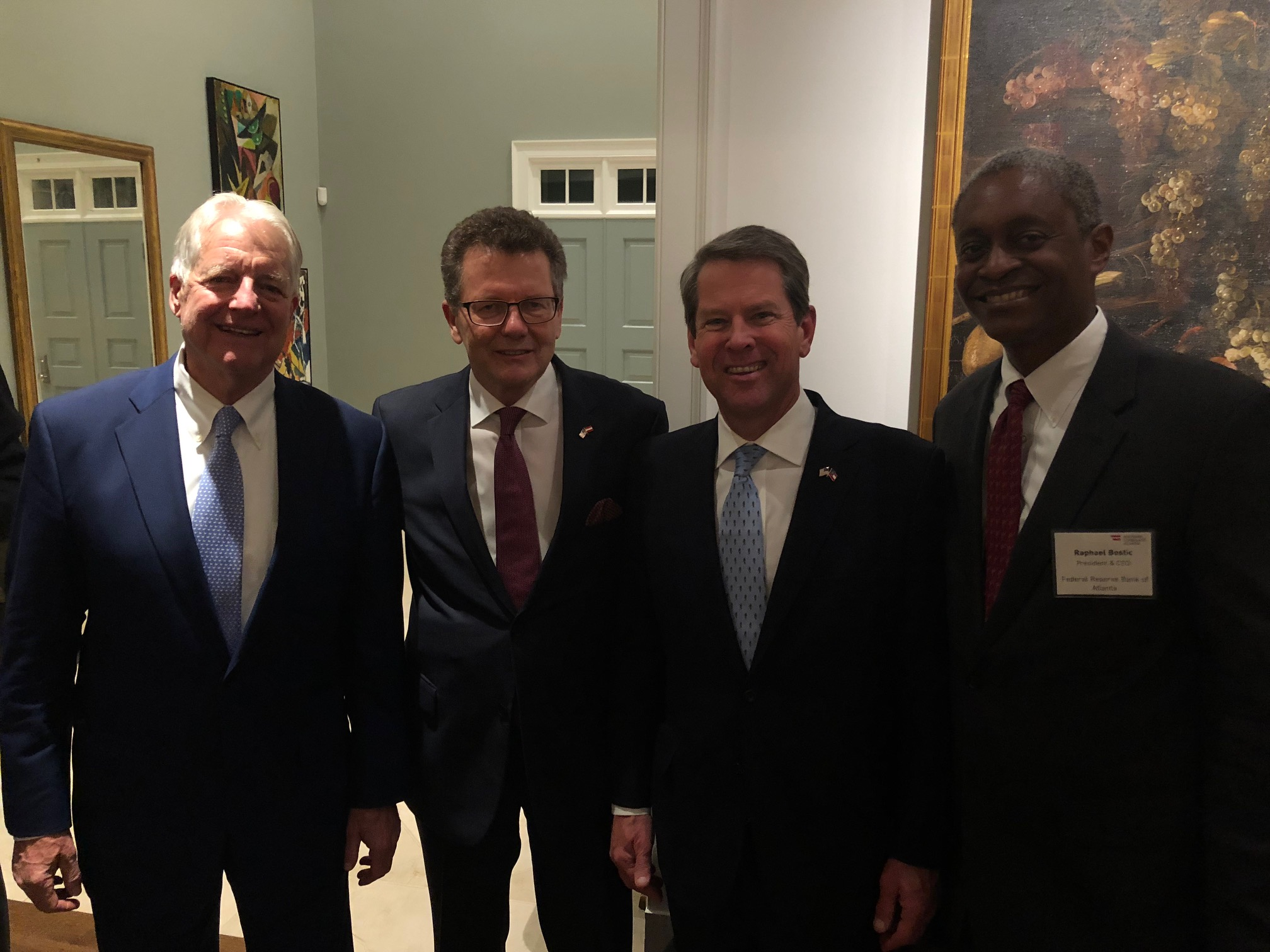 Reception at the Residence of the Austrian Honorary Consul  from left: Austrian Honorary Consul General Ferdinand C. Seefried, Ambassador Waldner, Georgia Governor-elect Brian Kemp, and Atlanta Federal Reserve Bank President Raphael Bostic