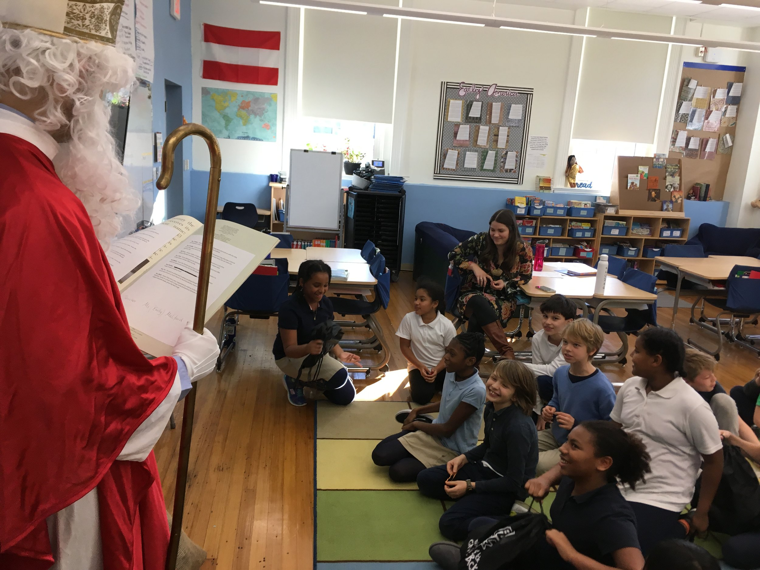 A Surprise Visit by Saint Nicholas at Ross Elementary School