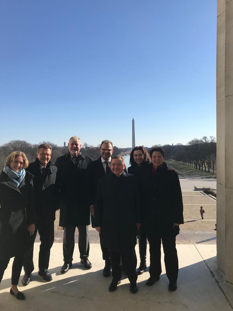 At the Lincoln Memorial, a visitor favorite, at the west end of the National Mall