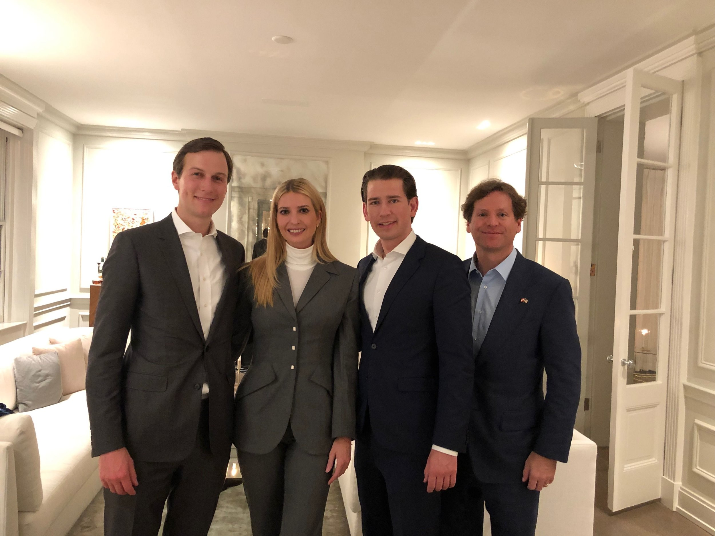 From left: Senior White House Advisors Jared and Ivanka Trump, Chancellor Sebastian Kurz, U.S. Ambassador to Austria Trevor Traina  (c) Trevor Traina