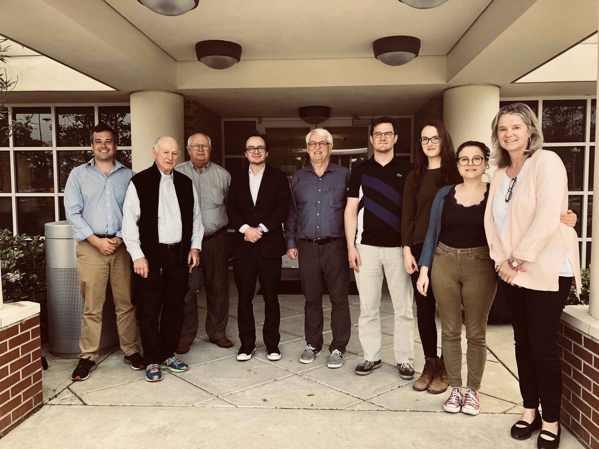 With faculty and graduate students: From left: Professor Marc Landry (Associate Director, Center Austria), Research Professor Emeritus Charles D. Hadley (political science), Professor Robert Dupont (history), Dr. Hannes Richter (Embassy of Austria), Professor Günter Bischof (Director, Center Austria), Vicko Marelic (Austrian Federal Ministry for Science, Research & Economics Fellow), Raphaela Fischnaller (Center Austria Fellow) Irina Pavlovic (Nick Mueller Fellow), Gertraud Griessner (Project Manager, Center Austria).