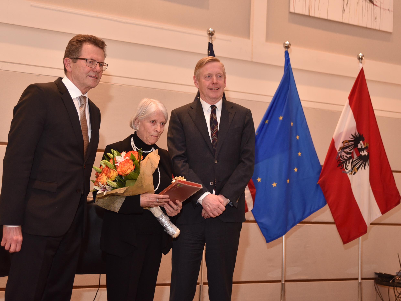 from left: Austrian Ambassador Waldner, Dr. Ann Altman, Ph.D., Norwegian Ambassador Aas