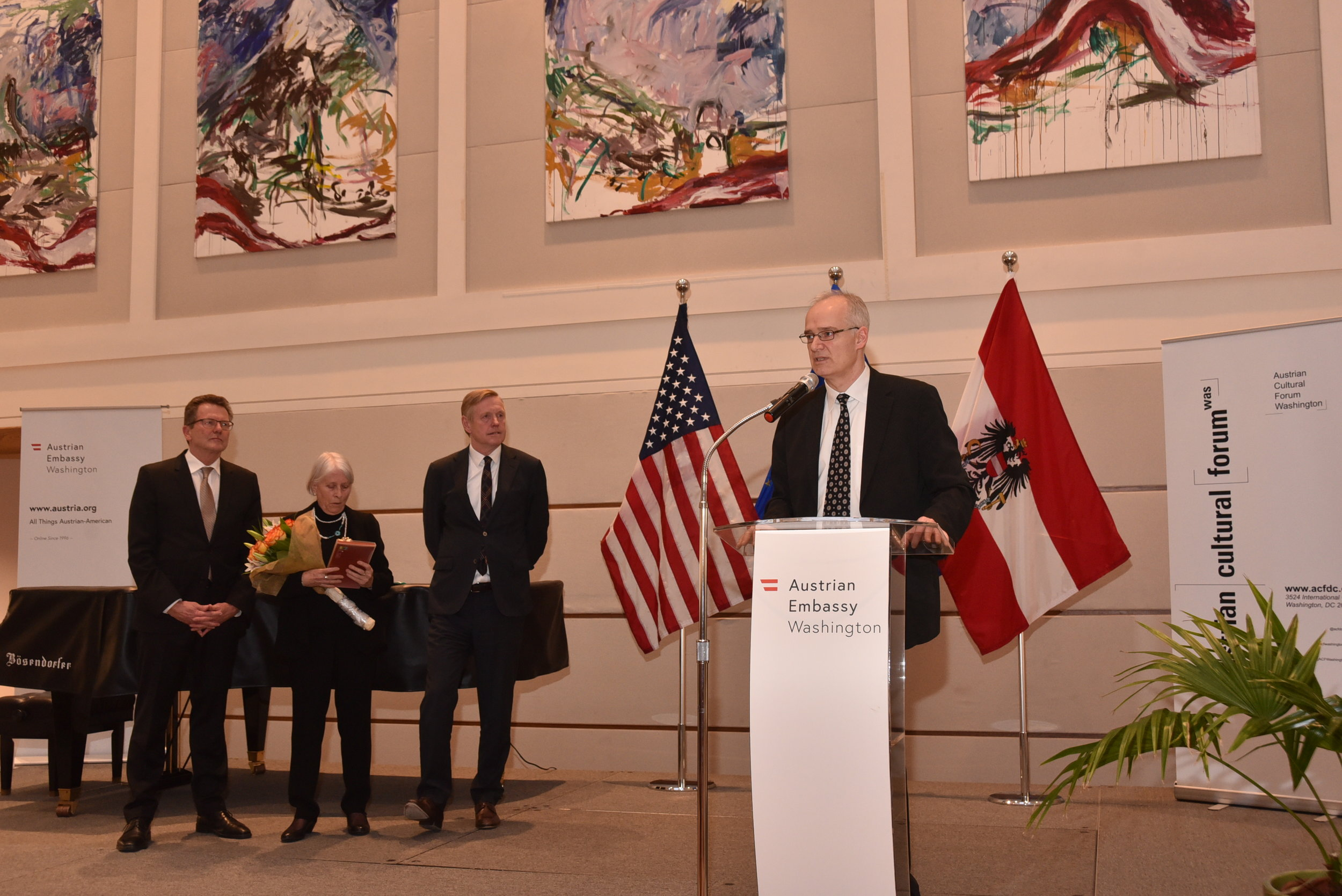 Minister Thorsten Eisingerich, Director of the Austrian Press & Information Service, organized the exhibition in conjunction with Austrian Cultural Forum Washington Director Eva Schöfer