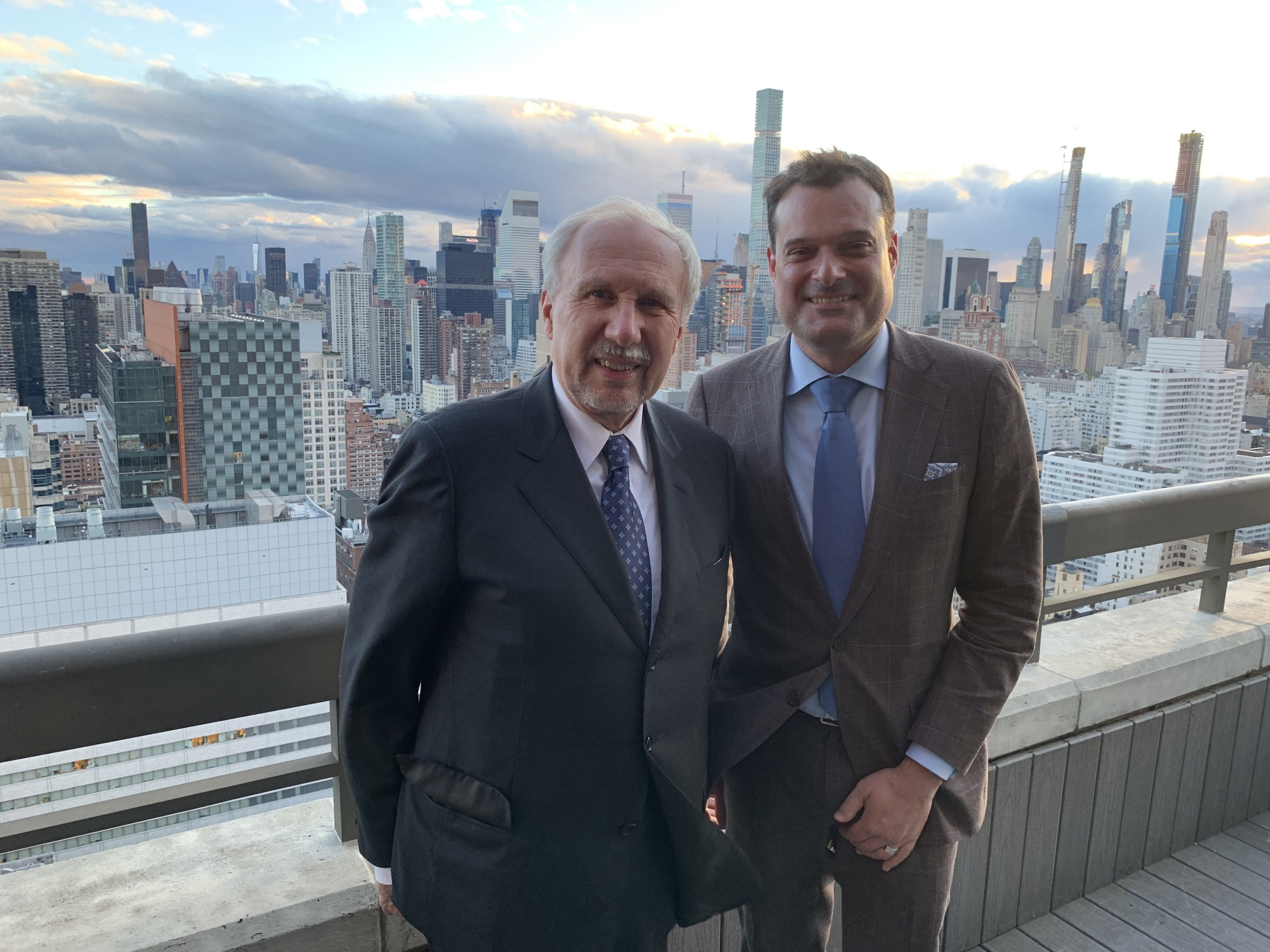 Governor of the Austrian National Bank Ewald Nowotny with Austrian Trade Commissioner Michael Friedl