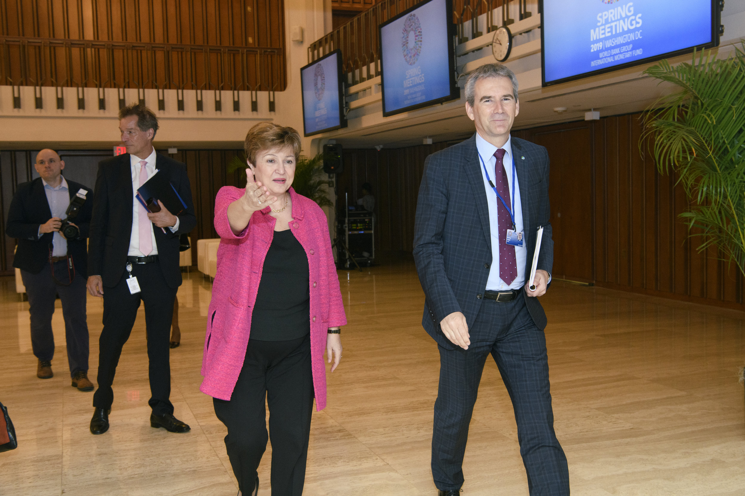 Kristalina Georgieva, the interim President of the World Bank, leads the way to the bilateral with Austrian Finance Minister Hartwig Löger (c) World Bank