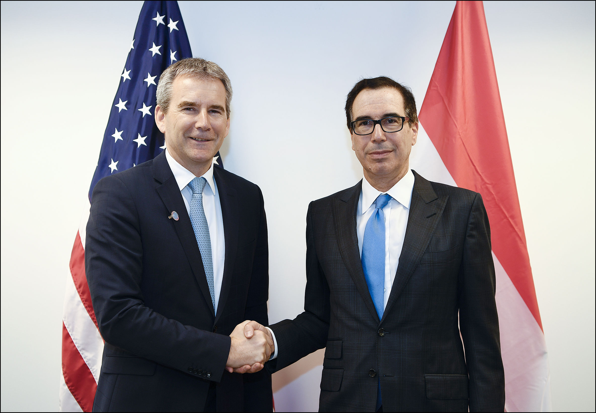 Austrian Finance Minister Hartwig Löger with U.S. Treasury Secretary Steven Mnuchin (c) U.S. Department of the Treasury Photographer