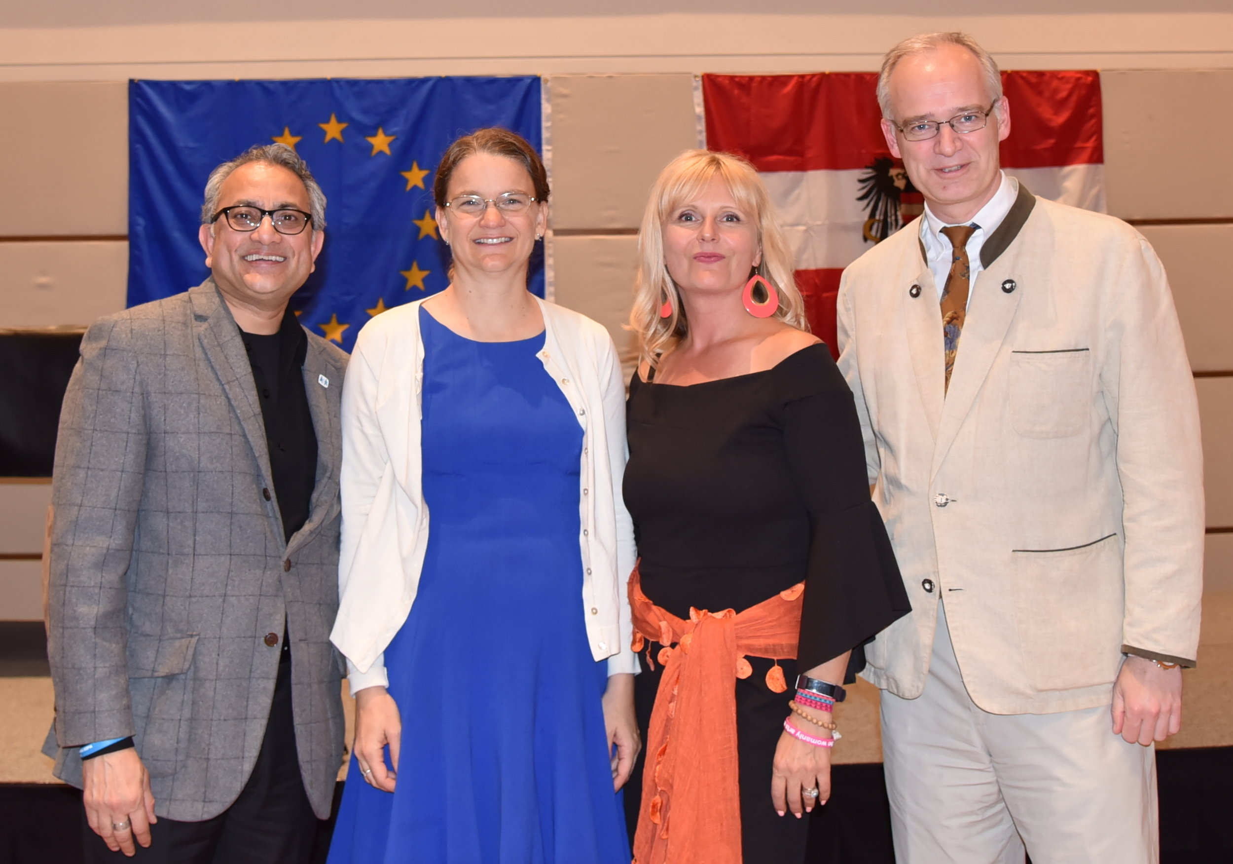 from left: Neil Ghosh (CEO of SOS Children's Villages USA), Laurie Fields DeRose Ph.D., Author Bettina Gordon-Wayne and Thorsten Eisingerich, Director for Press and Information at the Austrian Embassy
