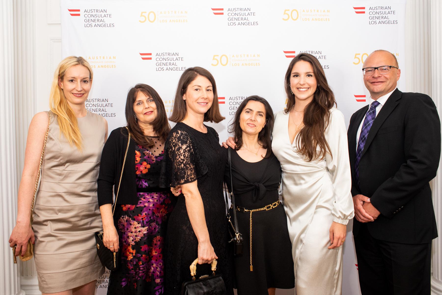 Austrian Consulate General Los Angeles staffers, from left: Sabine Wabnitz, Martina Weber, Mariella Finer, Cecilia Taieb, Pamela Ernst, and Josef Schwob