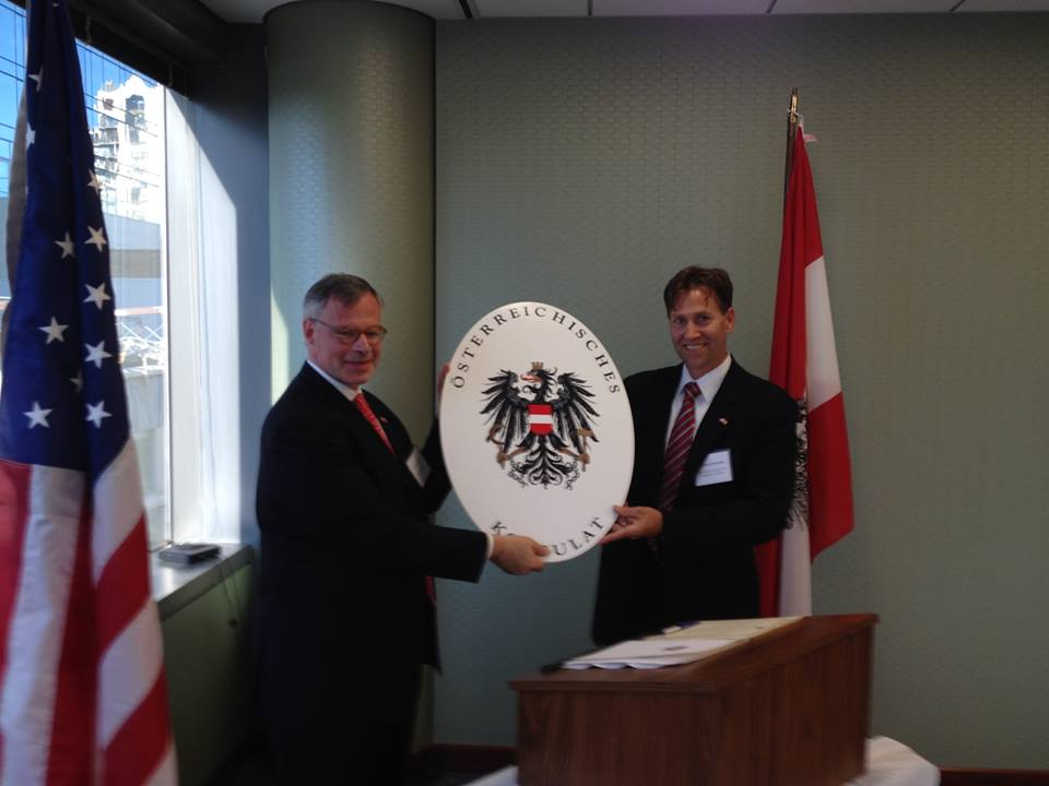 On July 24, 2014, late Austrian Consul General Dr. Georg Heindl officially installed Reinhold F. Krammer as Austrian Honorary Consul for Illinois, Iowa and Wisconsin. (c) Austrian Consulate General New York