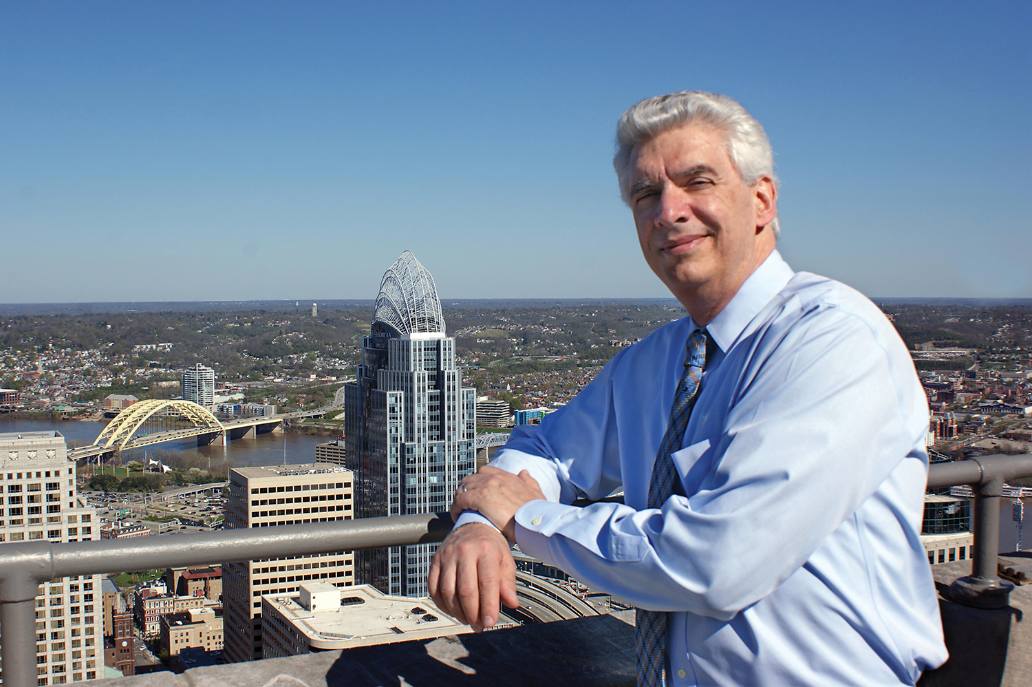 Austrian Honorary Consul Clement Luken on top of his office building, the Carew Tower in Cincinnati