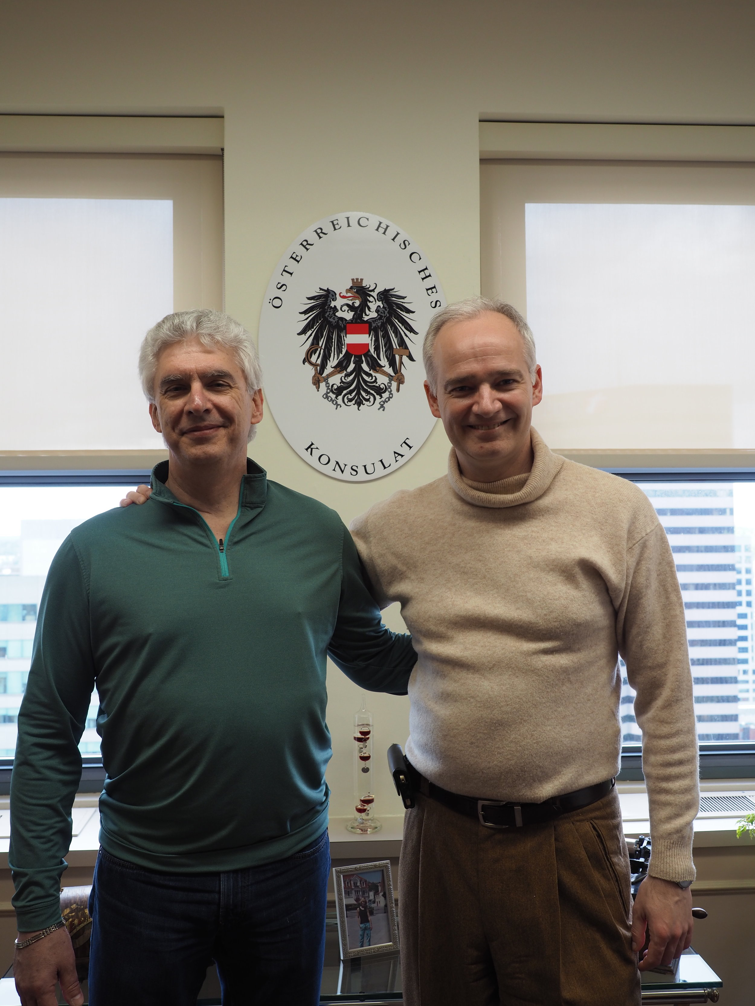 Austrian Honorary Consul Clement Luken (left) met with Thorsten Eisingerich, the Director for Press and Information at the Austrian Embassy in Washington, DC in spring 2019