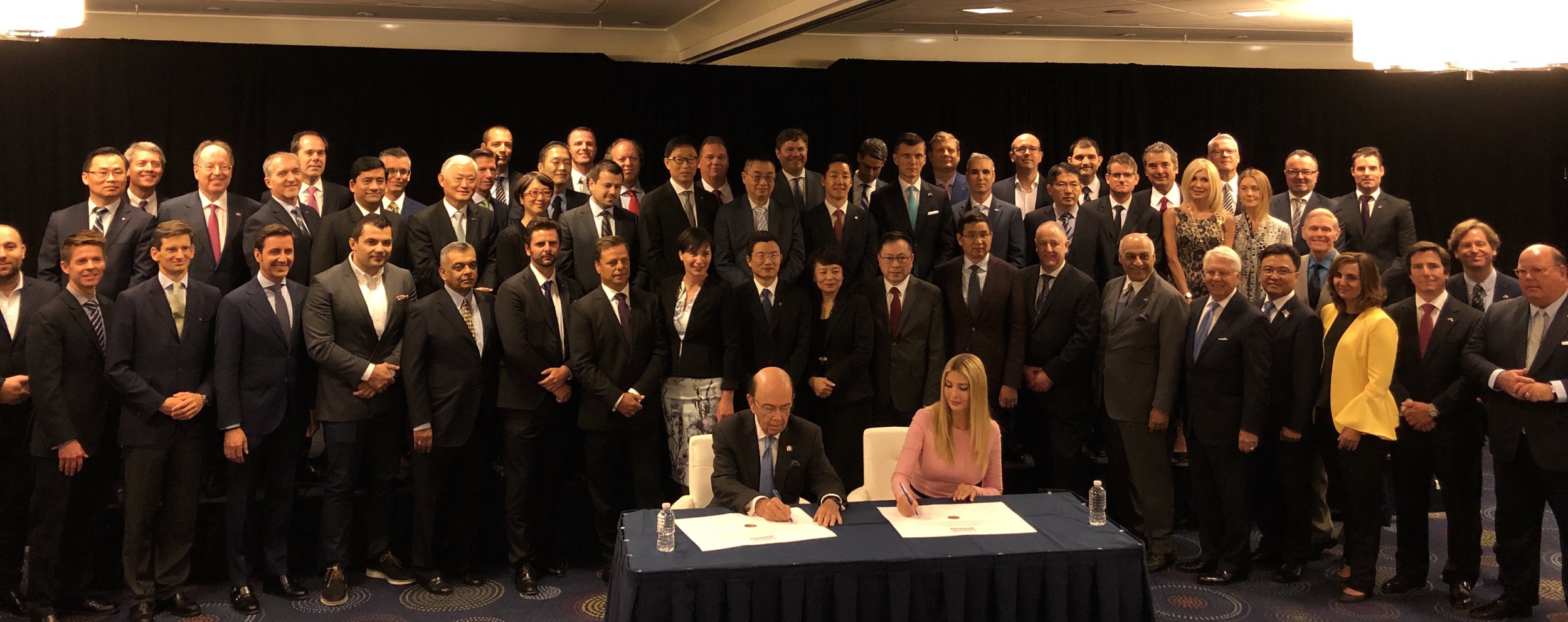 U.S. Secretary of Commerce Wilbur Ross and Advisor to the President Ivanka Trump join more than 65 global companies to sign the  Pledge to America's Workers , June 12, 2019 (c) U.S. Department of Commerce ( read the blog post )