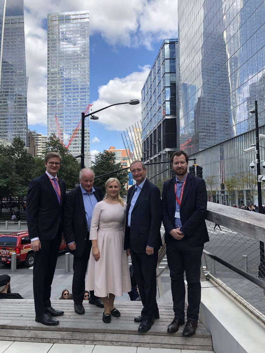 """from left: Florian Krisch (Advantage Austria), Georg Wailand (Publisher of the Austrian economic magazine """"Gewinn""""), Ruta Grikmane (Latvian Chamber of Commerce), President Christoph Leitl (EUROCHAMBRES) and Dominic Boucsein (EUROCHAMBRES, Head of International Trade and Foreign Policy) (c) Austrian Trade Commission New York"""