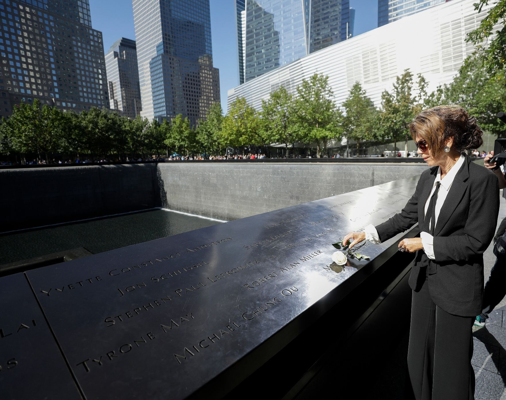 Federal Chancellor Bierlein at the 9/11 Memorial in New York City.   Photo: Austrian Federal Chancellery/ Andy Wenzel