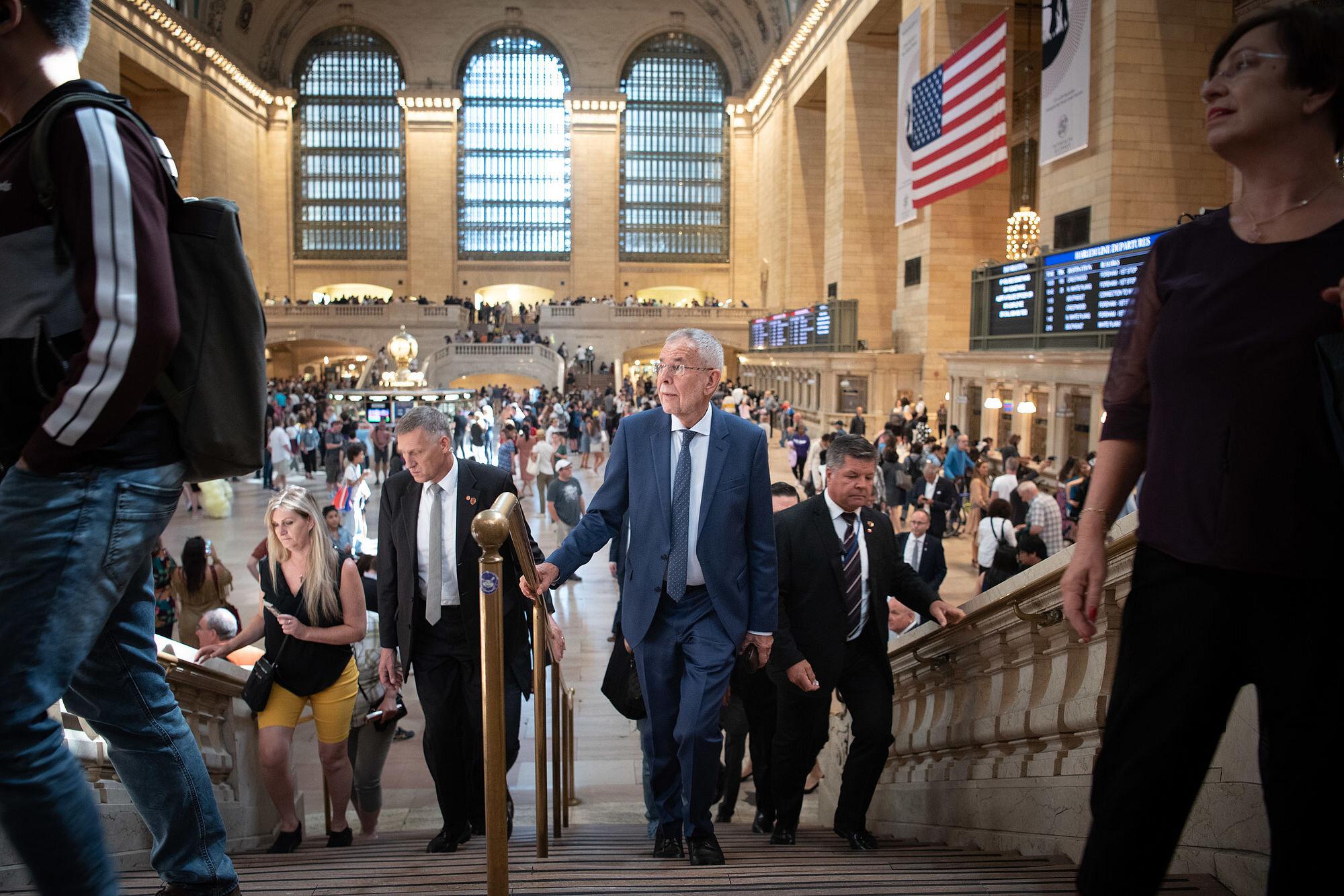 Federal President Alexander Van der Bellen at Grand Central Station in New York City.   Photo: Carina Karlovits/HBF