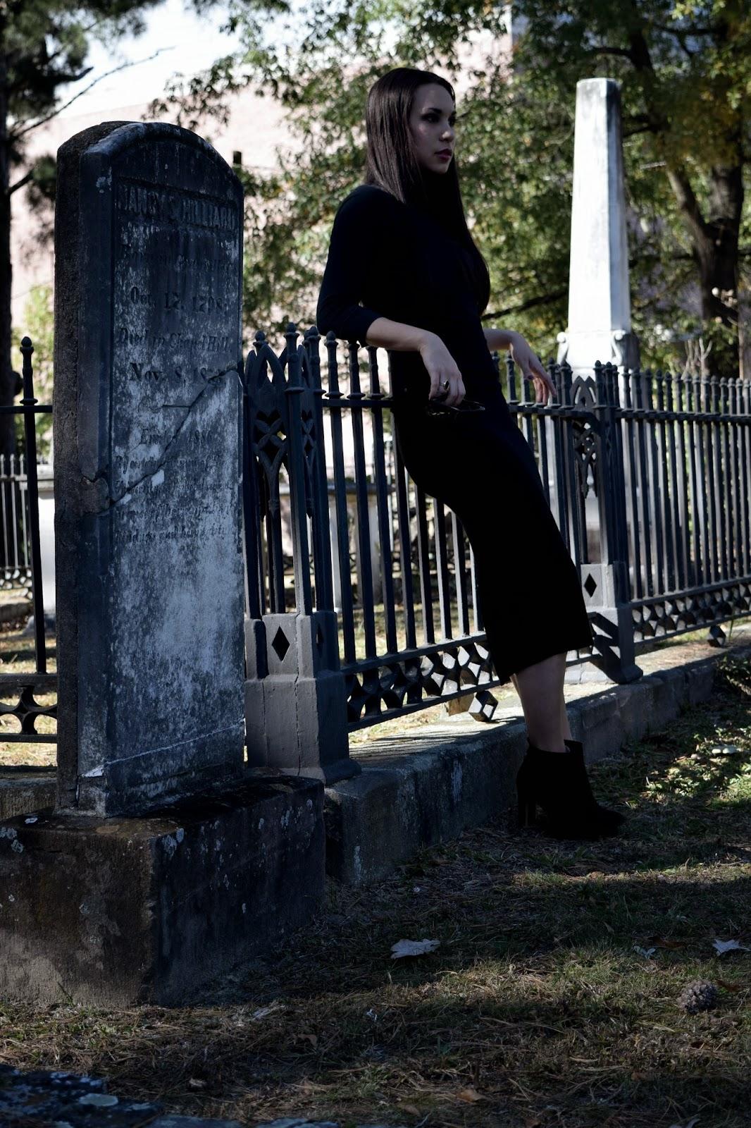 Mel in Chanel, Chanel, Zara, Kim Kardashian, Audrey Hepburn, Rick Owens, midi, midi skirt, Givenchy, all black, black, neutral, Halloween, cemetery, Raleigh, Raleigh fashion, Raleigh blogger, blogger, fashion blogger