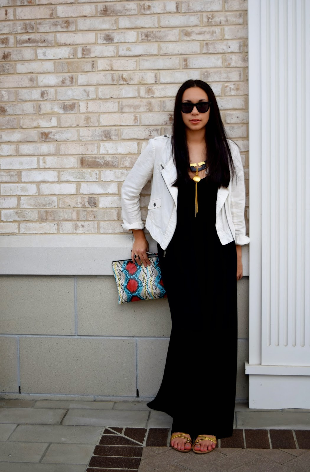 Mel, Chanel, Westward, Leaming, Hyla Dewitt, style, fashion, blogger, Raleigh blogger, Raleigh, maxi, black, dress, moto jacket, gold, black and white, Loeffler Randall
