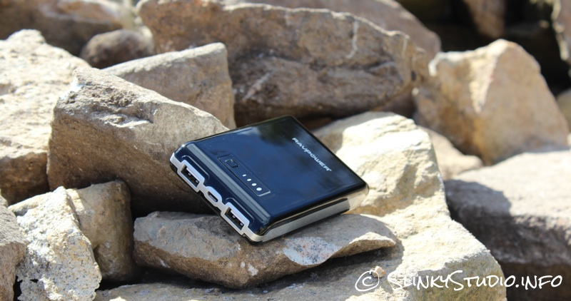 RAVPower Element 10400mAh battery pack Resting on rocks.jpg