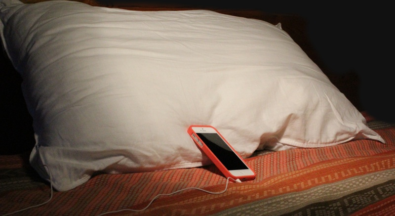iMusic Bluetooth Pillow iPhone Plugged in.jpg