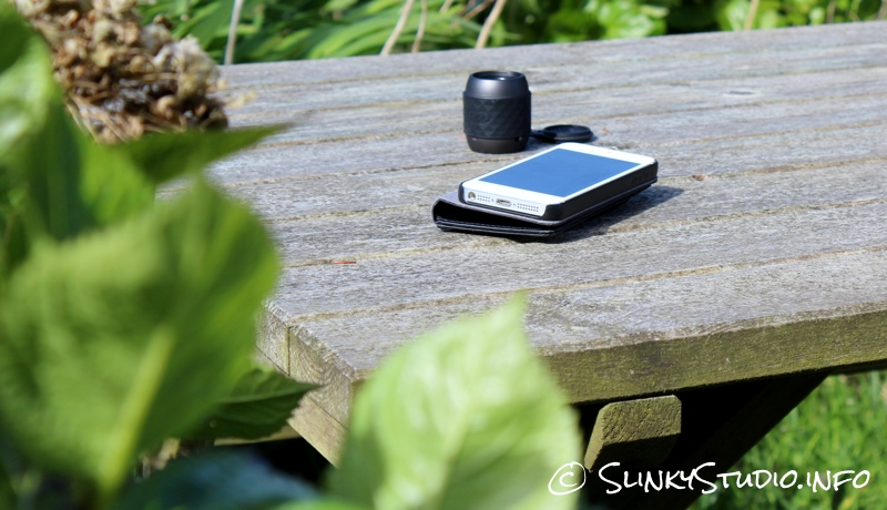 X-mini WE Speaker On Bench woith iPhone 5.jpg