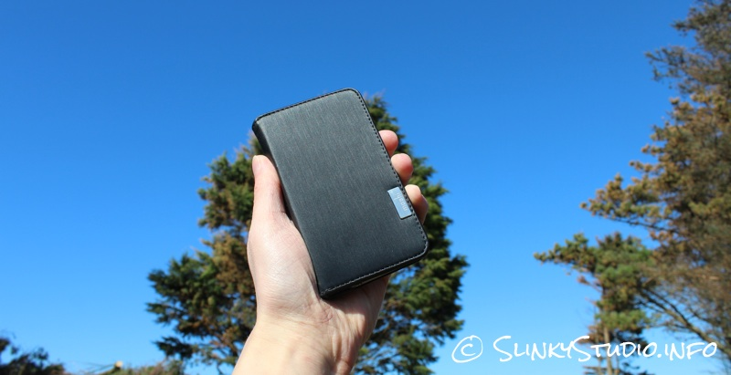 Moshi Overture Wallet Case for iPhone 5:5s in front of trees 7 blue skys.jpg