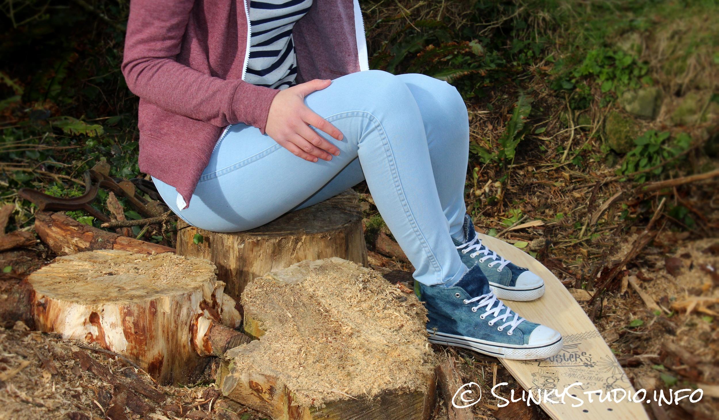 American Apparel Easy Jeans Medium Wash Sitting On Logs