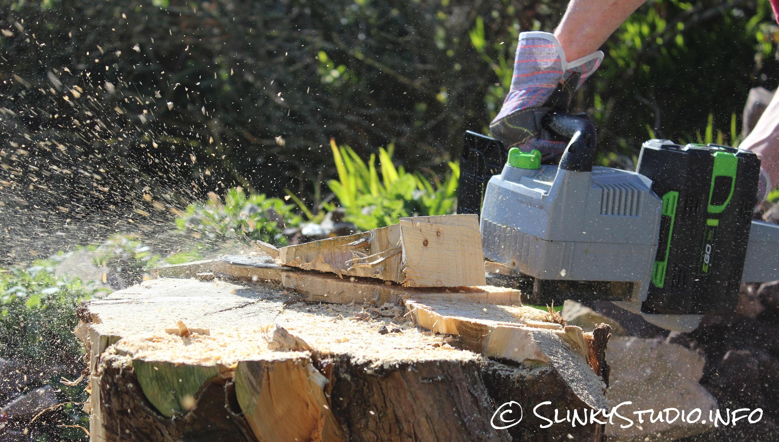 EGO Power+ Cordless Chainsaw Sideways Cutting Fast Shutter Speed Saw Dust