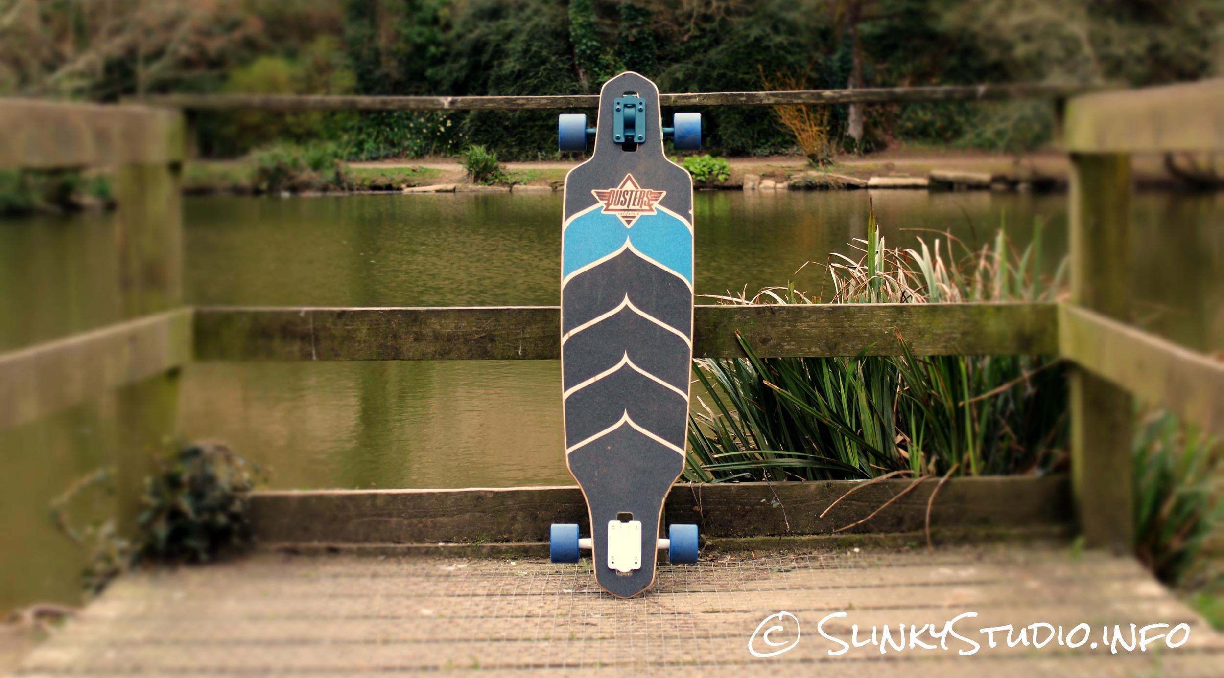 Dusters Wake Longboard on wooden board walk
