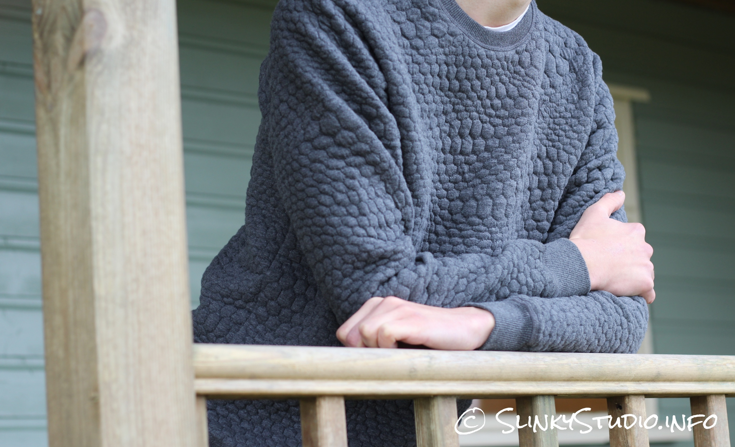 OnePiece London College Sweater Crossed Arms Leaning