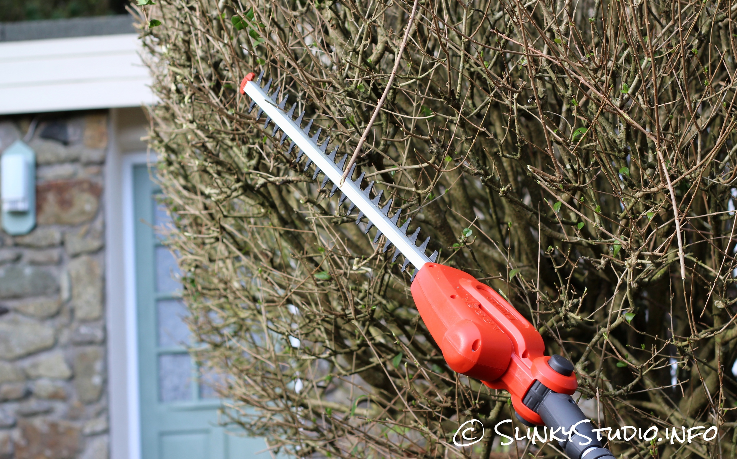 Flymo SabreCut XT Cordless Hedge Trimmer Cutting Thick Hedge.jpg