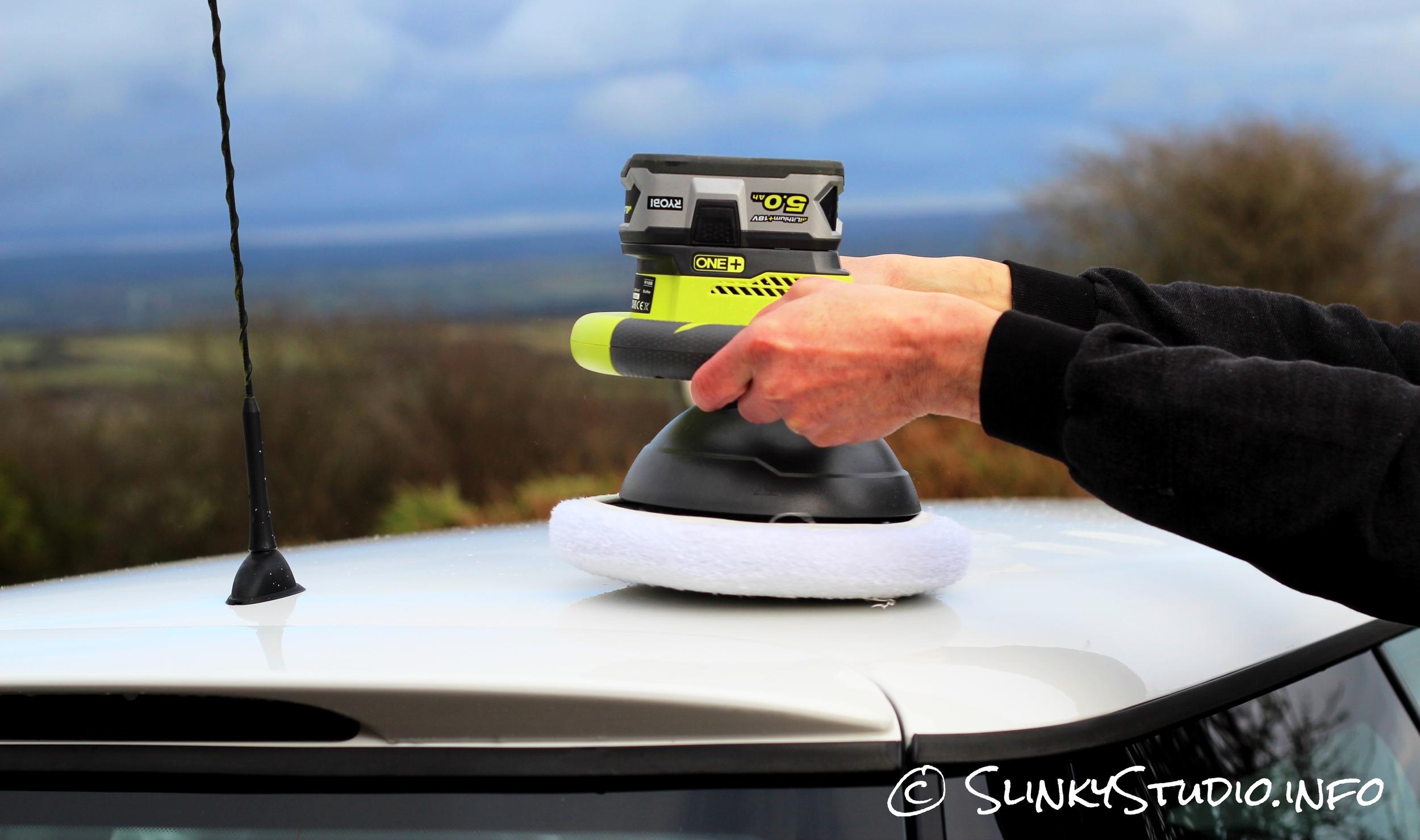 Ryobi 18V One+ Car Buffer MINI Cooper White Roof BRG.jpg