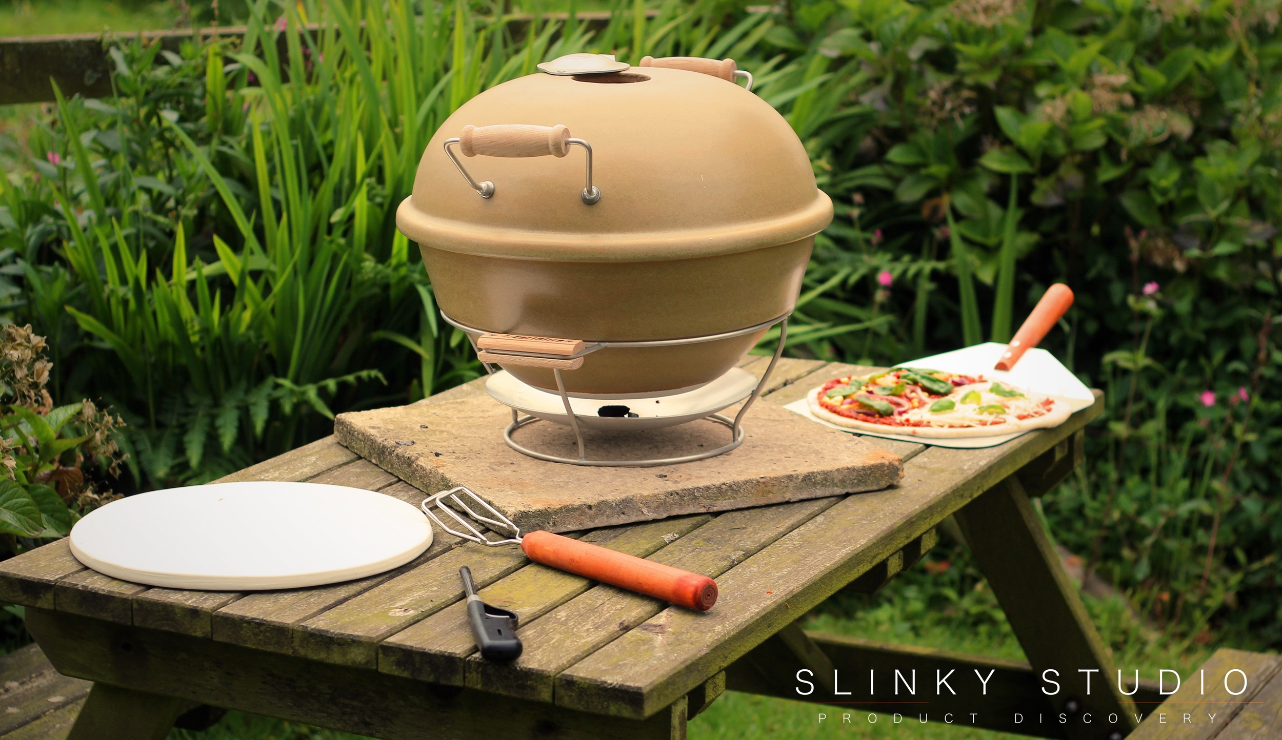 Grenadier Earth Fire Pizza Oven On Bench