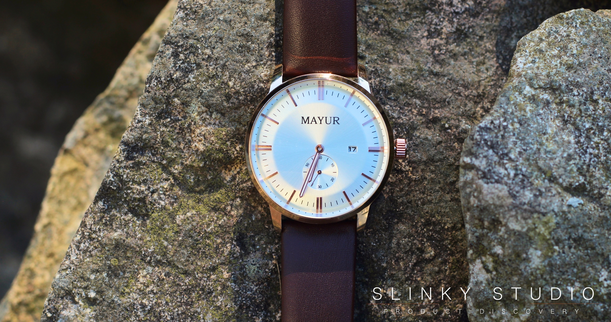 Mayur London Regal Watch Rose Gold Telling the Time Above View Face.jpg